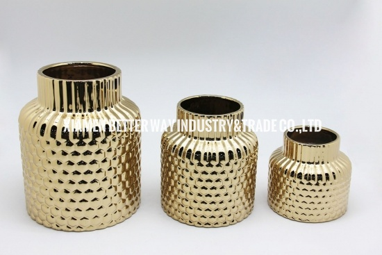 Golden ceramic flower vases