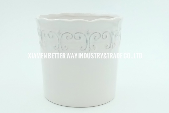 white glazed plant pots